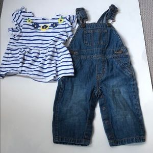Carter's & Children's Place Shirt & Overalls 3-6m